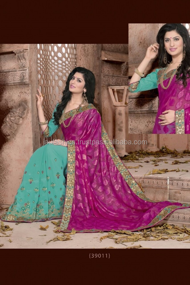 Crafty Pink Satin Georgette Mit Doppel Bluse Designer Saree/fancy saree bluse designs/großhandel sari