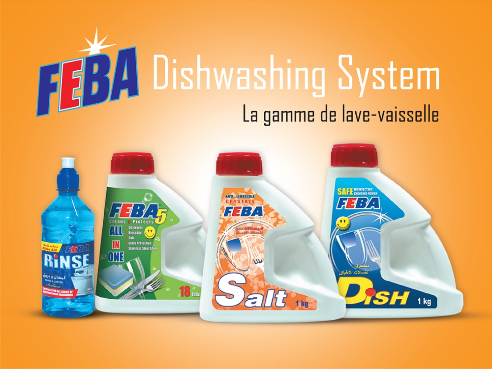 FEBA Dish-washing System ( Automatic Dish washing ... Salt - Powder - Tabs - Rinsing Aid )