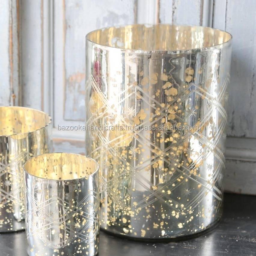 Silver Glass Vase Fascinating Online Shop Crackle Mirror