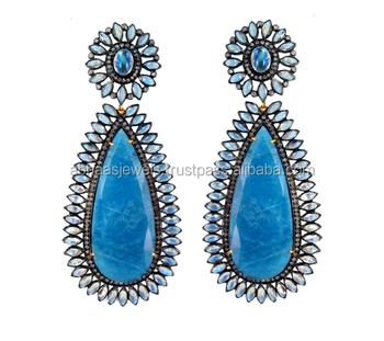 14k Gold Rainbow Moonstone Diamond Silver Aquamarine Gemstone Earrings