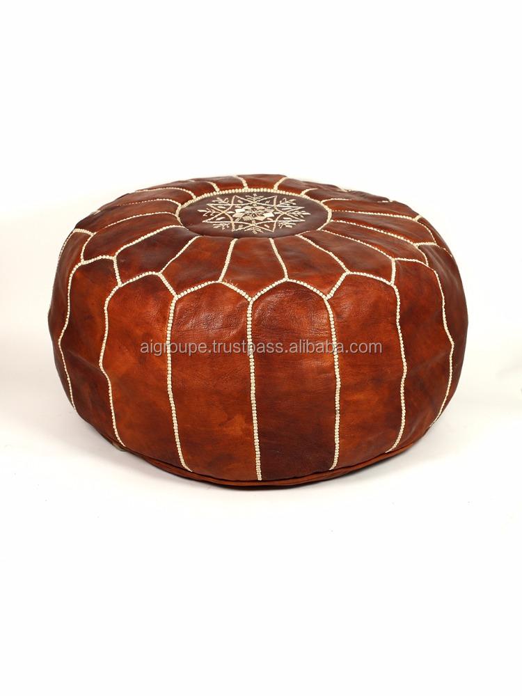 Marokkaanse handstitched bruin lederen poof handgebreide poef meubels andere meubelen product - Rechthoekige lederen pouf ...