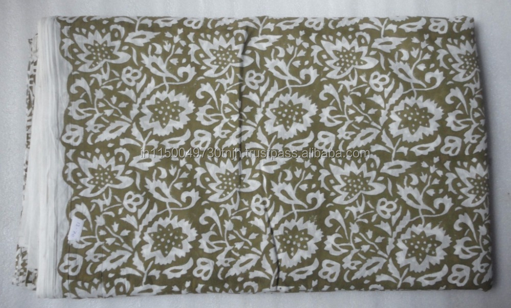 Handmade Natural Hand Block Printed 9 yard Sanganeri Cotton Print Fabric