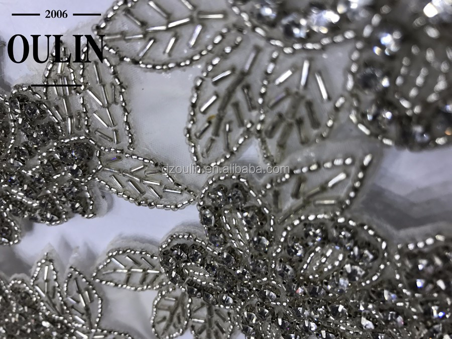2017 hot selling bridal beaded lace trimming beads lace rhinestone beads lace for wedding dress.