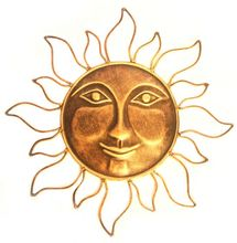 Metal Wall Art Sun in Antique finish, 16 inch