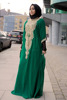 farasha kaftan bottle green crystal beaded evening dress
