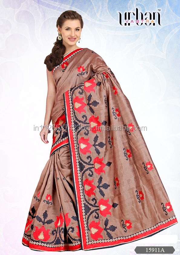 URBAN VASTRA BHAGALPURI EMBROIDERED SAREE - 15911A