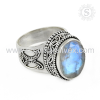 Exaggerated rainbow moonstone gemstone ring 925 sterling silver wholesale jewelry indian jewelry