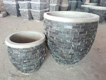 Tuin Potten Groothandel : Groothandel gestapelde steen slate plantenbakken potten vaas kom