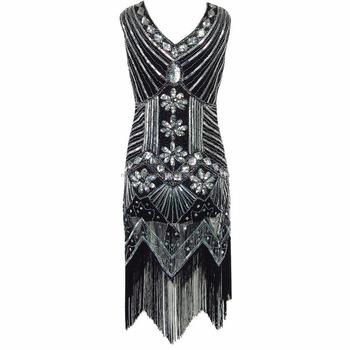 Best Dance 1920 Swomen Tel Fler Dress Vintage Sequin Bead Work Party Gown
