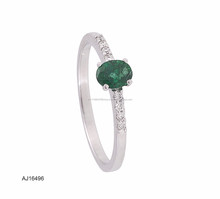 White gold diamond emerald gemstone ring
