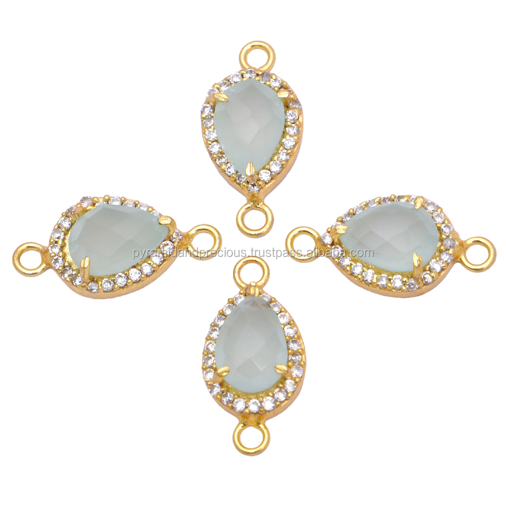 Gold Plated Aqua Chalcedony Pave Cz Set Gemstone Connector - Pear Cut Gemstone Connector