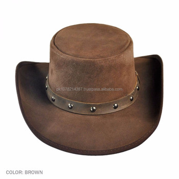 31e09318ff1471 2015 Fashion Stylish Brown Django Western Leather Top Hat For Mens ...
