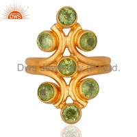 Natural Peridot Gemstone Designer Ring 925 Sterling Silver Gold Plated Silver Ring Jewelry