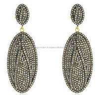 Victorian Inspire 4.39 Ct Rose Cut Diamond Long Earrings In 925% Sterling Silver