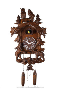 14 Inches Quartz Traditional Handcrafted Carving Solid Wood Cuckoo Wall Clocks Home Decor
