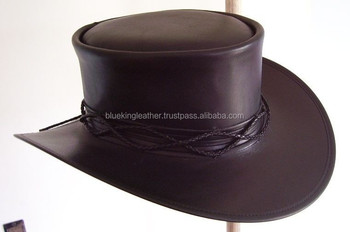 BLACK LEATHER FIELDS OF THE NEPHILIM CARL McCOY STYLE GOTHIC ROCK MENS HAT 81ea09d94336