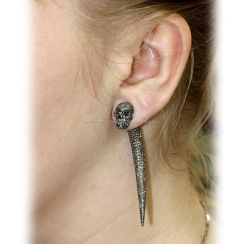 Sterling Silver Fashion Skull Jewelry Pave Diamond Tunnel Earrings