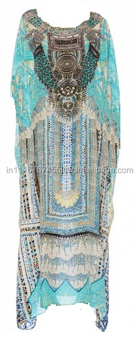 Deep Round Neck Embellished Silk Kaftan