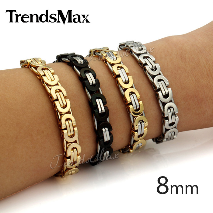 Custom Any Length Mens Chain Flat Byzantine Gold Plated Stainless Steel Bracelet motorcycle Biker Bracelet Fashion