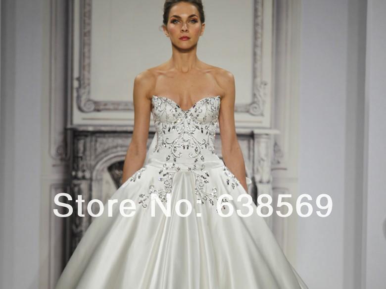 Satin Ball Gown Wedding Dress: Gorgeous Sweetheart Satin Embroidery Ball Gown Pnina