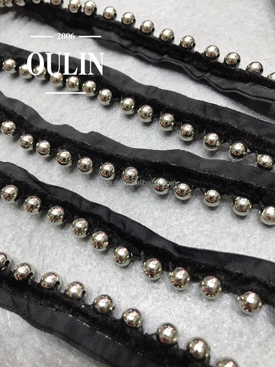 2017 new arrival pearl lace pearl beaded lace garment accessories garment trim pearl lace trim for garments