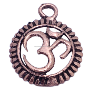 Round Outline OM Silver Charm Pendant