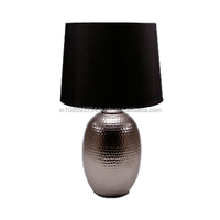 Hammered Brass Table Lamp With Black Fabric Shade