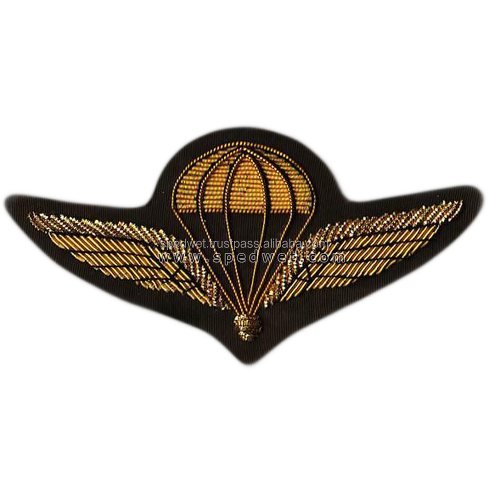 Hand embroidery bullion wire gold wing parachute badges