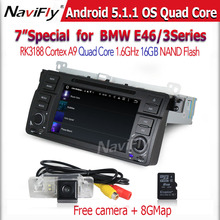Pure Android 5.1 Quad Core Car Radio DVD GPS Navigation Stereo for E46 3 Series M3 1998-2006 RAM 1GB HD 1024*600 free shipping