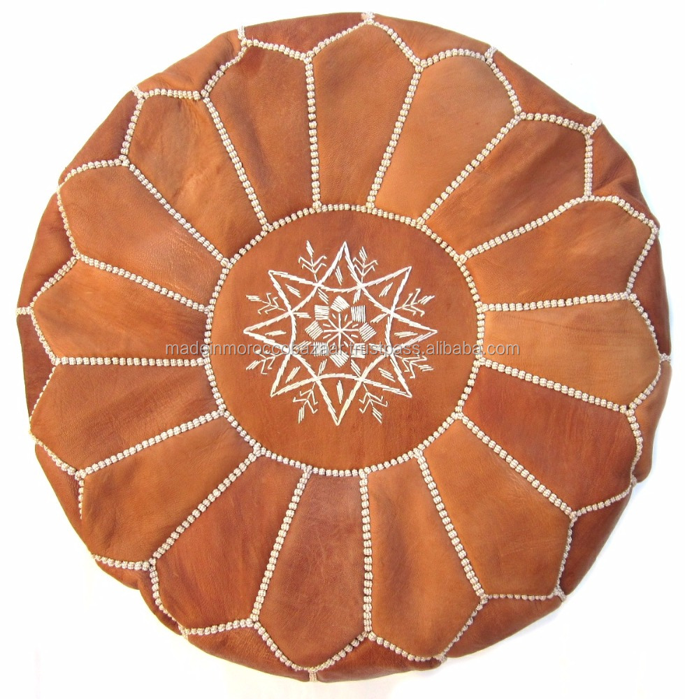 Square handcrafted moroccan leather pouf dark tan pouf pouffe ottoman - Moroccan Ottoman Ottomans Genuine Leather Pouf Moroccan Ottoman Ottomans Genuine Leather Pouf Suppliers And Manufacturers At Alibaba Com