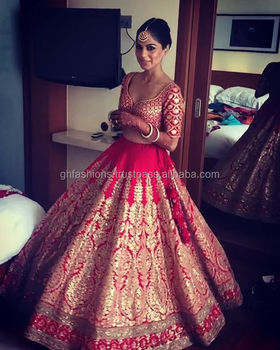 Red Gold Indian Bridal Lehenga Choli 2017