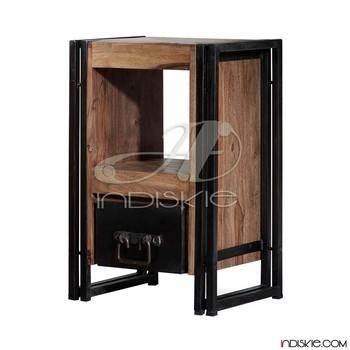 Metal wood bedside table nightstands bedside tables iron for Wood and metal bedside table