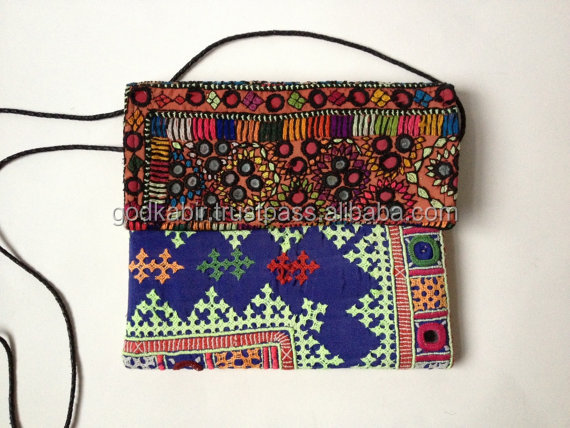 Vintage Indian Embroidered Colorful Cross Body Bag / Tribal Banjara Hand Embroidered Sling Bag/ Boho Ethnic Tribal Purse/ Bohemi