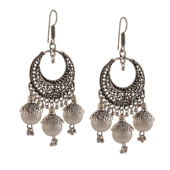 3b234db12fd0d Zephyrr Fashion German Silver Chandbali Jhumki Hook Earrings For Women -  Buy Fashion Earrings For Men,Earrings For Boys,Earrings For Women Product  on ...