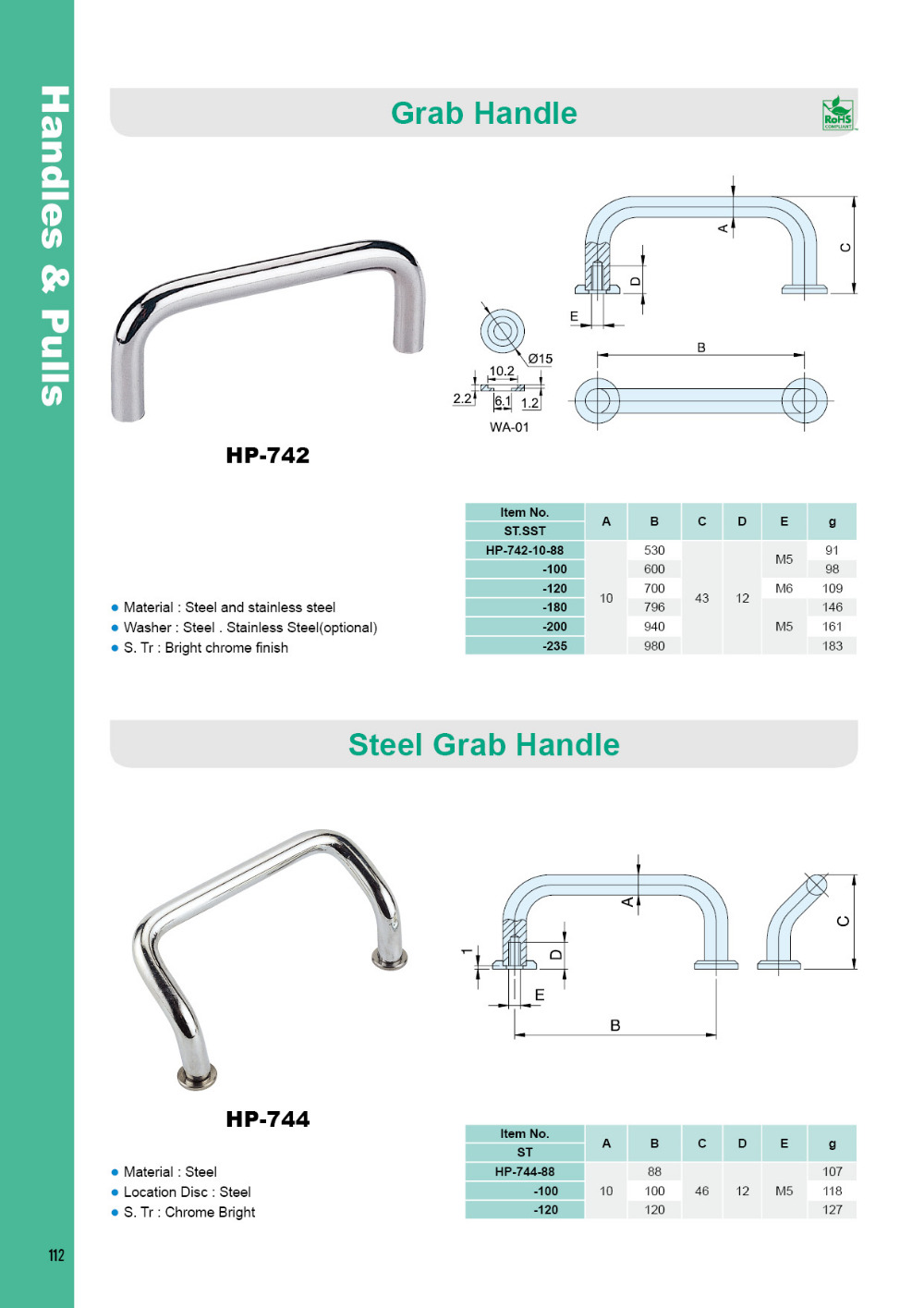 Hp-742-120 304 Grade Polished Stainless Steel D And U Shape Pull Handles -  Buy Stainless Handle,D Shape Handle,U Shape Handle Product on Alibaba com