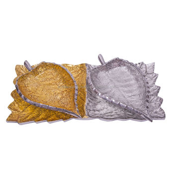 Cast Aluminium Leaf Shape Bowl With Tray In Gold And Silver Enamel Available In Other