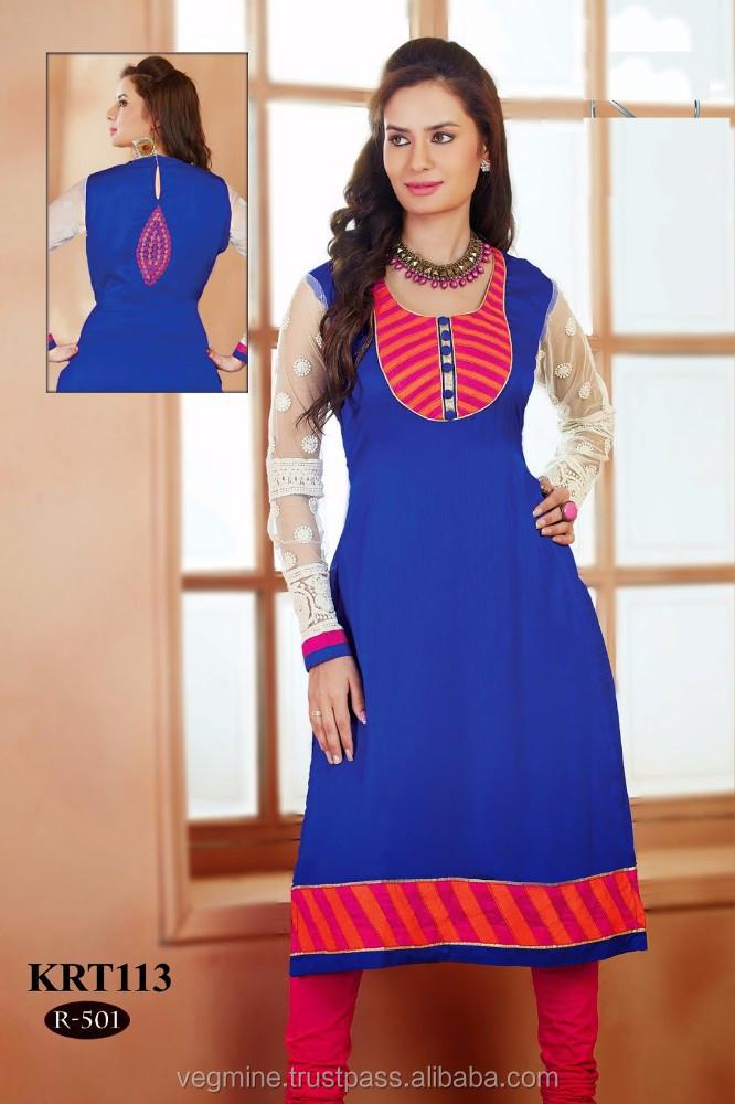 Collar Neck Designs Kurtis/indian Kurtis Wholesale