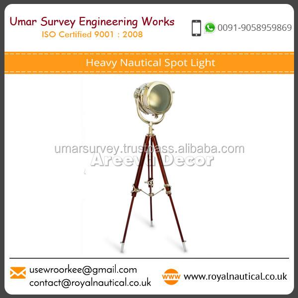 Designer Brass Nautical Spot Light Tripod Floor Lamp