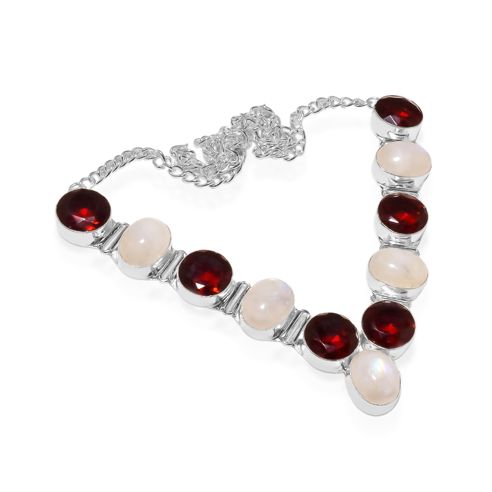 WHITE RAINBOW MOON STONE WITH RED GARNET 92.5 STERLING SILVER NECKLACE