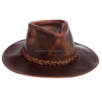 Henschel Mens Brown Genuine Oiled Leather Walker Western Cowboy Hat ... c91d0451519f
