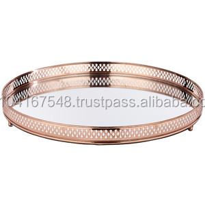 Rose Gold Mirror Tray Beautiful Plated