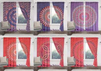 Exclusive Peacock Feather Mandala Cotton Curtain Boho Window Treatment  Indian Bohemian Valances Decor Boho Room