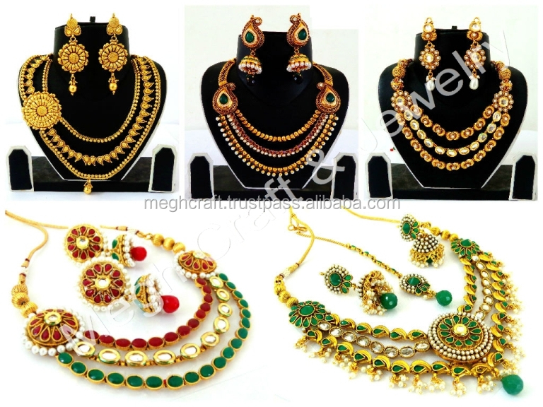 South Indian Laksmi Coin Jewellery Set - Wholesale One Gram Gold Plated Necklace Set - Indian Pearl Beaded Temple Jewelry - Buy Indian Bridal Pearl Necklace ... & South Indian Laksmi Coin Jewellery Set - Wholesale One Gram Gold ...