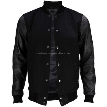 Best Quality Cheap And Beautiful Plain Black Varsity Jacketbaseball