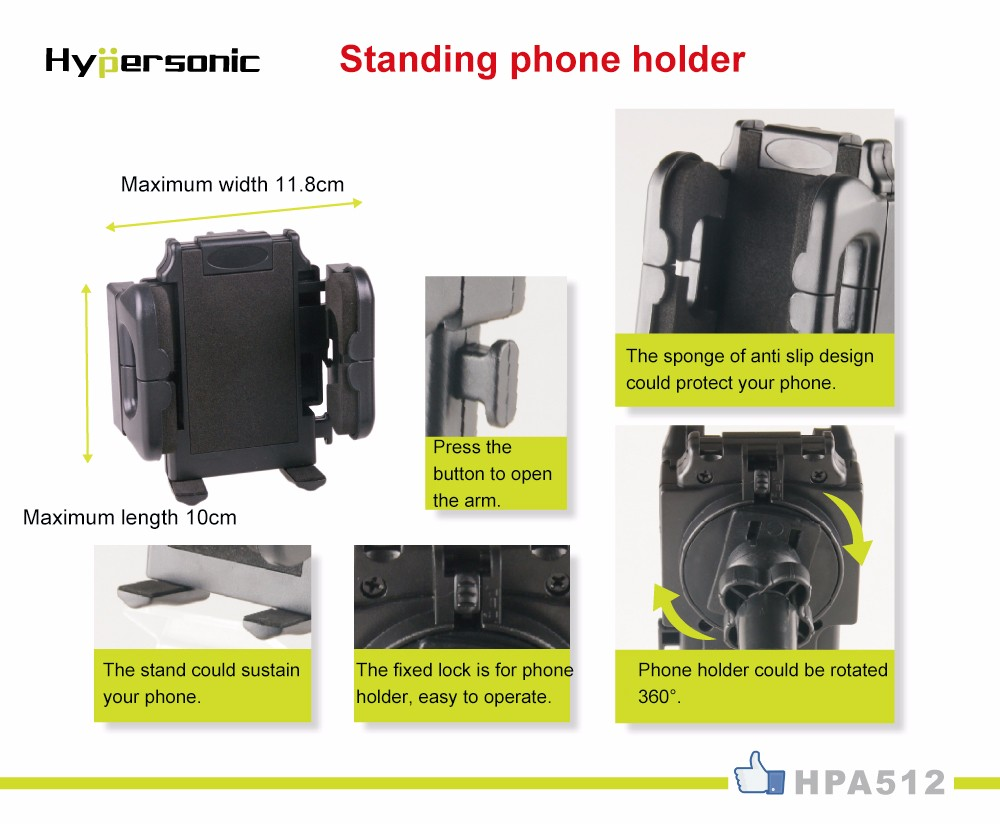 Hypersonic HPA512 360 degree rotating phone stand Window Suction Cup Car Phone wall mount cell phone holder car accesory
