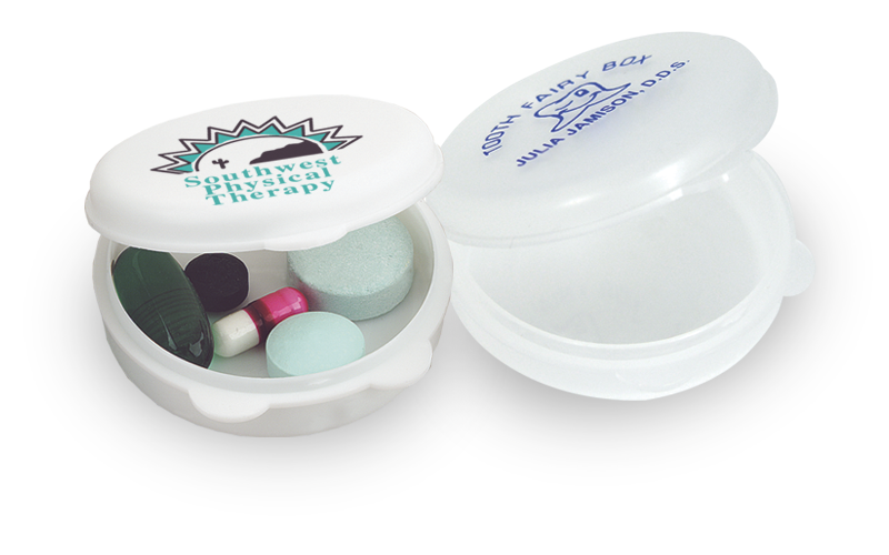 USA Made Round-The-Clock Pill Box - has an inside diameter equal to the size of a silver dollar; easy to hold and easy to pocket
