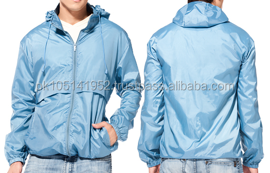 Blue water proof rain jackets with hood with customized logo/2016 New collection sport rain jacket