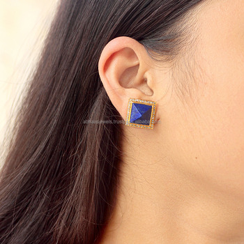 18k Solid Gold Diamond Square Pyramid Shape Lapis Lazuli Stud Earrings Gemstone Jewelry Supplier