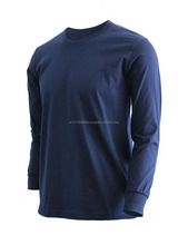 New Style Long Sleeve Tshirt Men/100% Cotton Men T Shirt/Navy Blue Plain Sleeves Cuff T-Shirt New Style