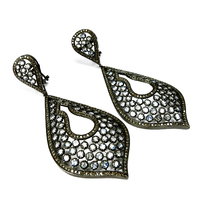 Diamond Silver Earring Pave Diamond Silver Jewelry, Unique Designs Diamond Jewelry, Diamond Jewelry India